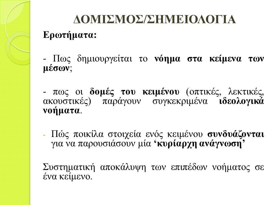 ΔΟΜΙΣΜΟΣ/ΣΗΜΕΙΟΛΟΓΙΑ Ερωτήματα: - Πως δημιουργείται το νόημα στα κείμενα των μέσων; - πως οι δομές του κειμένου (οπτικές, λεκτικές, ακουστικές) παράγο