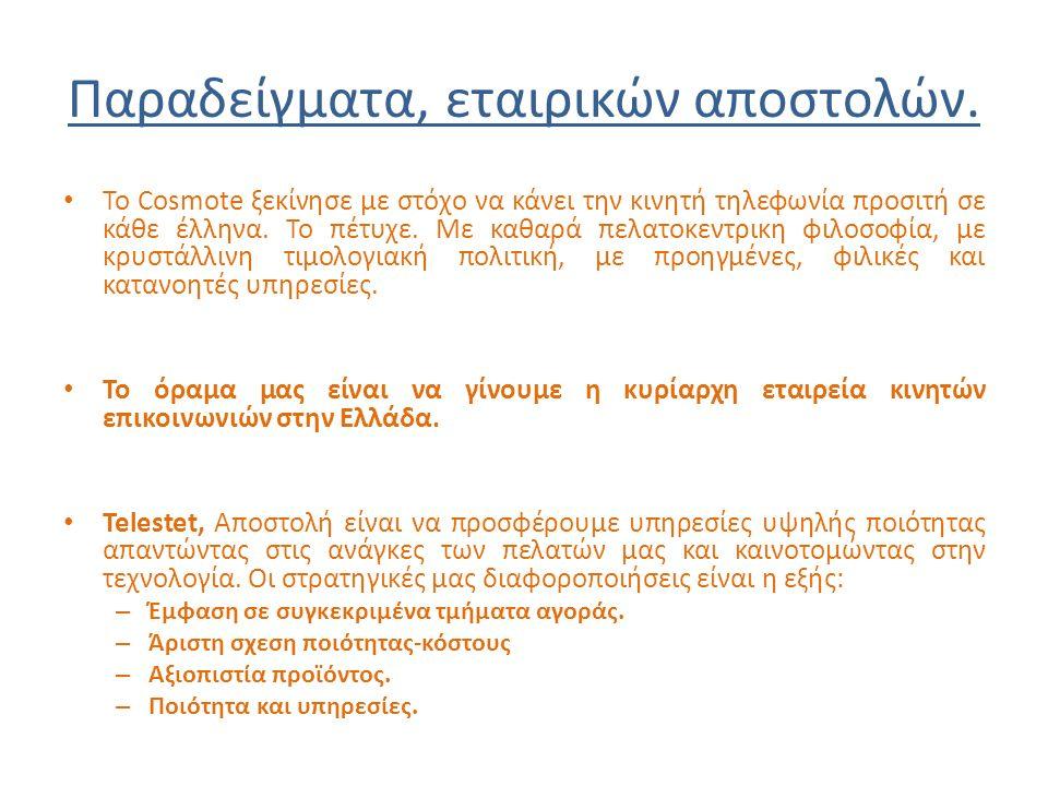 Παραδείγματα, εταιρικών αποστολών. Το Cosmote ξεκίνησε με στόχο να κάνει την κινητή τηλεφωνία προσιτή σε κάθε έλληνα. Το πέτυχε. Με καθαρά πελατοκεντρ