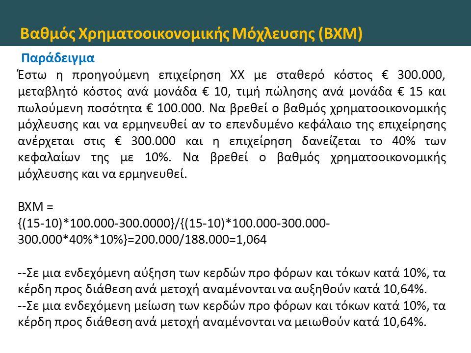 Βαθμός Χρηματοοικονομικής Μόχλευσης (ΒΧΜ) Παράδειγμα Έστω η προηγούμενη επιχείρηση ΧΧ με σταθερό κόστος € 300.000, μεταβλητό κόστος ανά μονάδα € 10, τιμή πώλησης ανά μονάδα € 15 και πωλούμενη ποσότητα € 100.000.