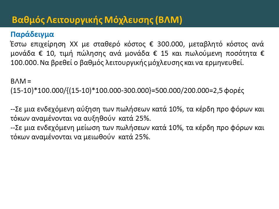 Βαθμός Λειτουργικής Μόχλευσης (ΒΛΜ) Παράδειγμα Έστω επιχείρηση ΧΧ με σταθερό κόστος € 300.000, μεταβλητό κόστος ανά μονάδα € 10, τιμή πώλησης ανά μονάδα € 15 και πωλούμενη ποσότητα € 100.000.
