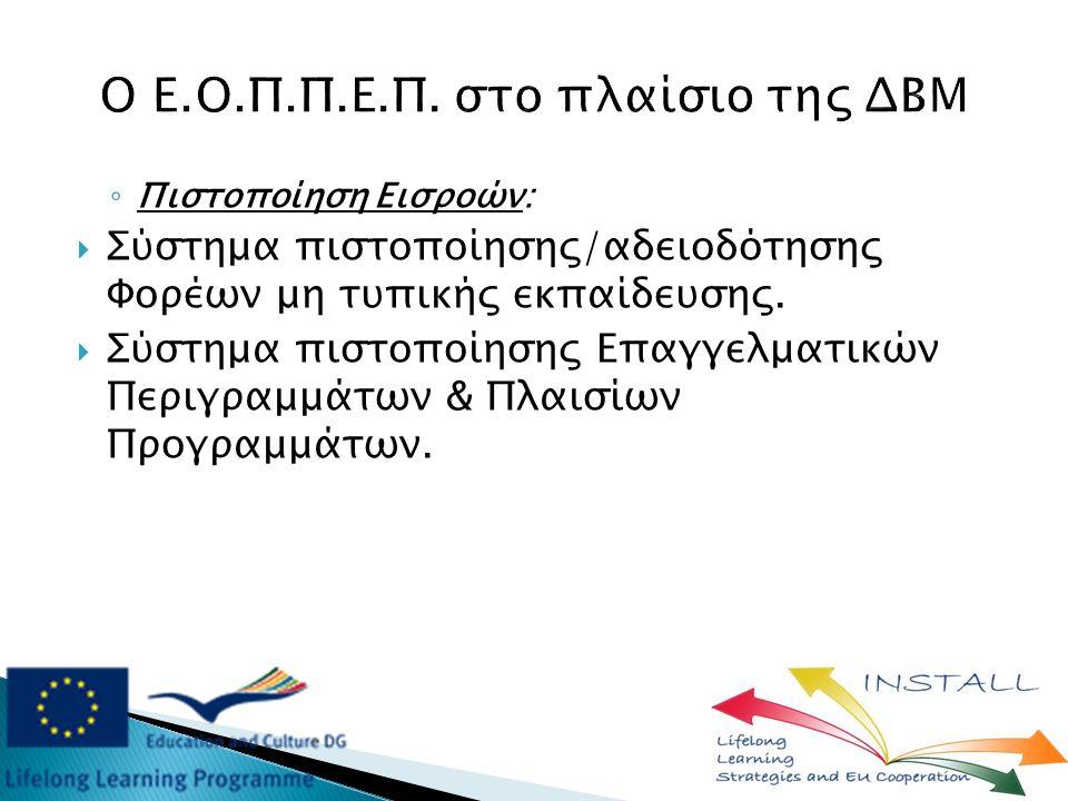 ◦ Πιστοποίηση Εισροών:  Σύστημα πιστοποίησης/αδειοδότησης Φορέων μη τυπικής εκπαίδευσης.