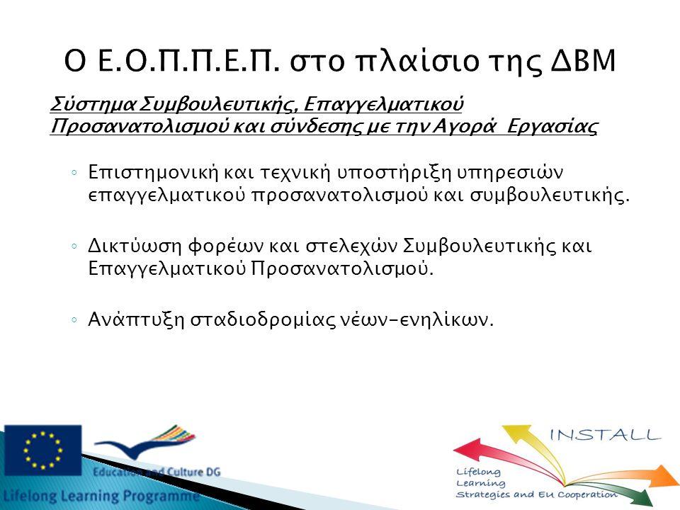 Σύστημα Συμβουλευτικής, Επαγγελματικού Προσανατολισμού και σύνδεσης με την Αγορά Εργασίας ◦ Eπιστημονική και τεχνική υποστήριξη υπηρεσιών επαγγελματικού προσανατολισμού και συμβουλευτικής.