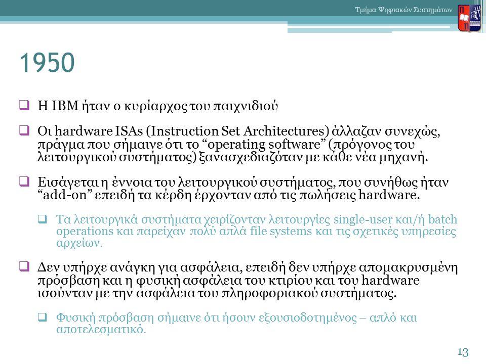 1950  Η IBM ήταν ο κυρίαρχος του παιχνιδιού  Οι hardware ISAs (Instruction Set Architectures) άλλαζαν συνεχώς, πράγμα που σήμαινε ότι το operating software (πρόγονος του λειτουργικού συστήματος) ξανασχεδιαζόταν με κάθε νέα μηχανή.