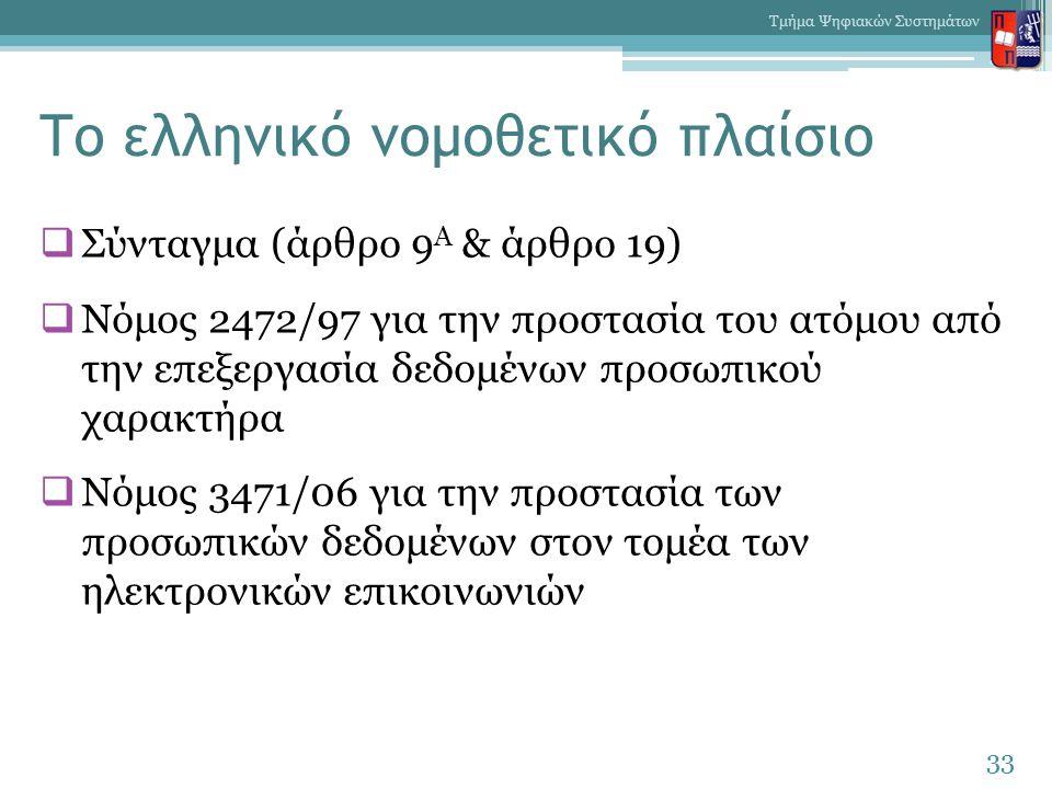 Το ελληνικό νομοθετικό πλαίσιο  Σύνταγμα (άρθρο 9 Α & άρθρο 19)  Νόμος 2472/97 για την προστασία του ατόμου από την επεξεργασία δεδομένων προσωπικού χαρακτήρα  Νόμος 3471/06 για την προστασία των προσωπικών δεδομένων στον τομέα των ηλεκτρονικών επικοινωνιών 33 Τμήμα Ψηφιακών Συστημάτων