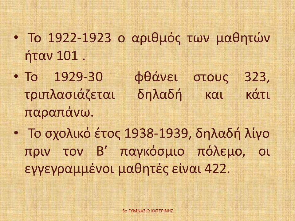 Το 1922-1923 ο αριθμός των μαθητών ήταν 101.