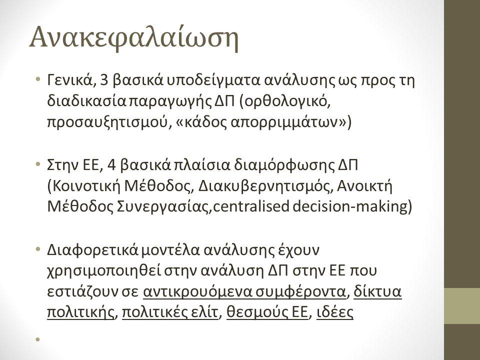 Ανακεφαλαίωση Γενικά, 3 βασικά υποδείγματα ανάλυσης ως προς τη διαδικασία παραγωγής ΔΠ (ορθολογικό, προσαυξητισμού, «κάδος απορριμμάτων») Στην ΕΕ, 4 βασικά πλαίσια διαμόρφωσης ΔΠ (Κοινοτική Μέθοδος, Διακυβερνητισμός, Ανοικτή Μέθοδος Συνεργασίας,centralised decision-making) Διαφορετικά μοντέλα ανάλυσης έχουν χρησιμοποιηθεί στην ανάλυση ΔΠ στην ΕΕ που εστιάζουν σε αντικρουόμενα συμφέροντα, δίκτυα πολιτικής, πολιτικές ελίτ, θεσμούς ΕΕ, ιδέες