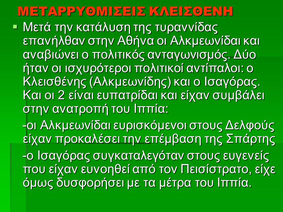 ΜΕΤΑΡΡΥΘΜΙΣΕΙΣ ΚΛΕΙΣΘΕΝΗ  Μετά την κατάλυση της τυραννίδας επανήλθαν στην Αθήνα οι Αλκμεωνίδαι και αναβιώνει ο πολιτικός ανταγωνισμός.