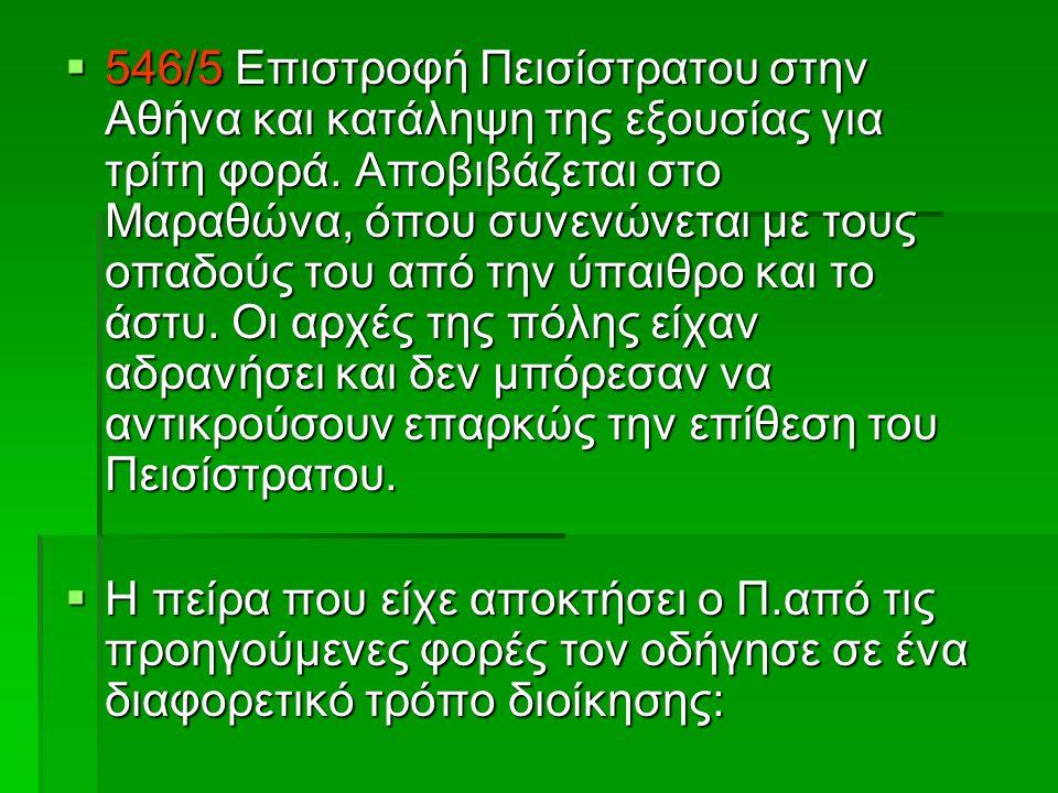  546/5 Επιστροφή Πεισίστρατου στην Αθήνα και κατάληψη της εξουσίας για τρίτη φορά.