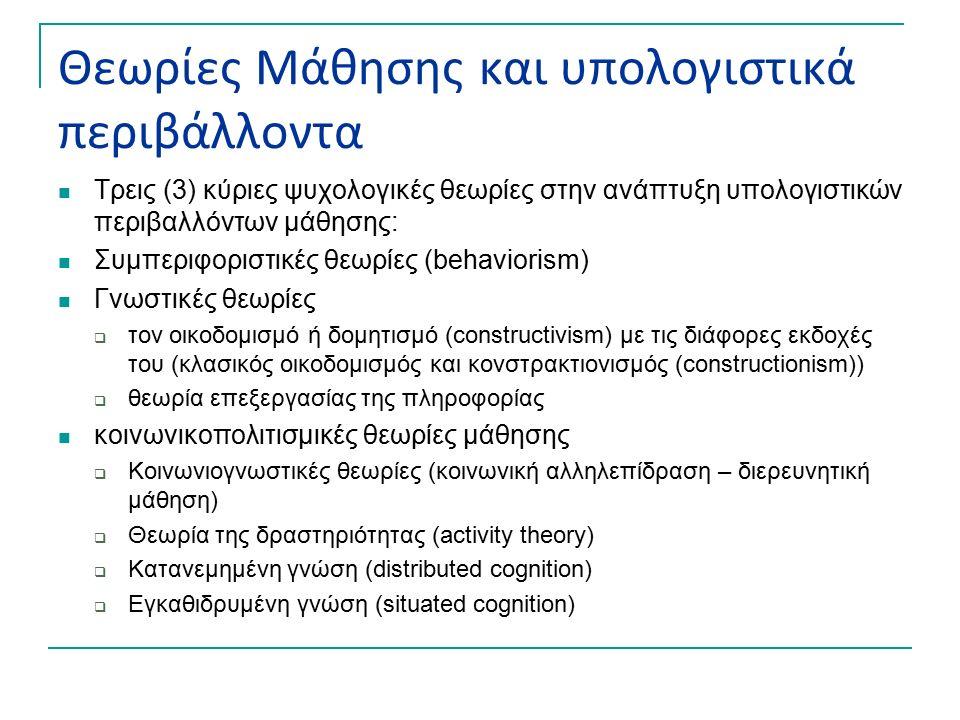 Θεωρίες Μάθησης και υπολογιστικά περιβάλλοντα Τρεις (3) κύριες ψυχολογικές θεωρίες στην ανάπτυξη υπολογιστικών περιβαλλόντων μάθησης: Συμπεριφοριστικές θεωρίες (behaviorism) Γνωστικές θεωρίες  τον οικοδομισμό ή δομητισμό (constructivism) με τις διάφορες εκδοχές του (κλασικός οικοδομισμός και κονστρακτιονισμός (constructionism))  θεωρία επεξεργασίας της πληροφορίας κοινωνικοπολιτισμικές θεωρίες μάθησης  Κοινωνιογνωστικές θεωρίες (κοινωνική αλληλεπίδραση – διερευνητική μάθηση)  Θεωρία της δραστηριότητας (activity theory)  Κατανεμημένη γνώση (distributed cognition)  Εγκαθιδρυμένη γνώση (situated cognition)