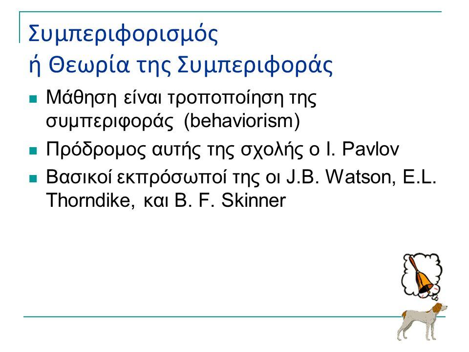 Συμπεριφορισμός ή Θεωρία της Συμπεριφοράς Μάθηση είναι τροποποίηση της συμπεριφοράς (behaviorism) Πρόδρομος αυτής της σχολής ο I. Pavlov Βασικοί εκπρό