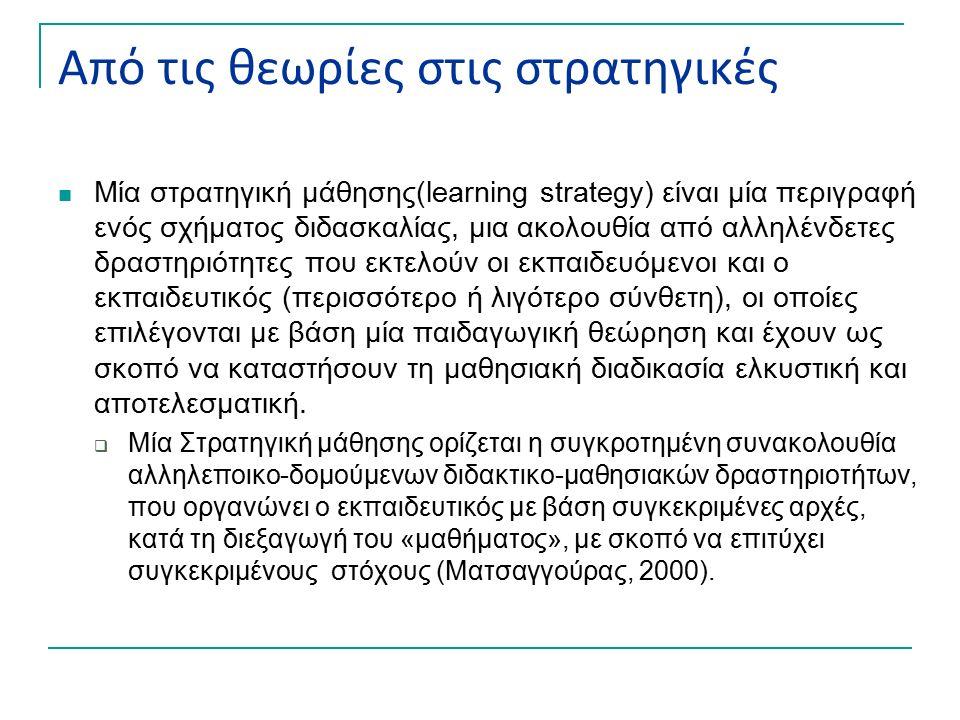 Από τις θεωρίες στις στρατηγικές Μία στρατηγική μάθησης(learning strategy) είναι μία περιγραφή ενός σχήματος διδασκαλίας, μια ακολουθία από αλληλένδετες δραστηριότητες που εκτελούν οι εκπαιδευόμενοι και ο εκπαιδευτικός (περισσότερο ή λιγότερο σύνθετη), οι οποίες επιλέγονται με βάση μία παιδαγωγική θεώρηση και έχουν ως σκοπό να καταστήσουν τη μαθησιακή διαδικασία ελκυστική και αποτελεσματική.