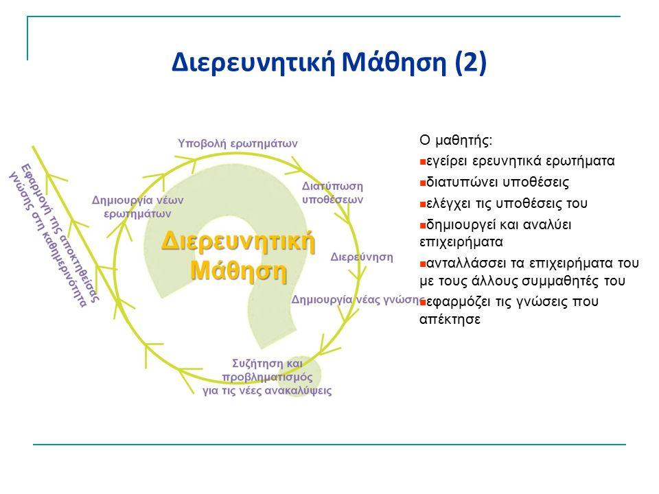 Διερευνητική Μάθηση (2) Ο μαθητής: εγείρει ερευνητικά ερωτήματα διατυπώνει υποθέσεις ελέγχει τις υποθέσεις του δημιουργεί και αναλύει επιχειρήματα ανταλλάσσει τα επιχειρήματα του με τους άλλους συμμαθητές του εφαρμόζει τις γνώσεις που απέκτησε