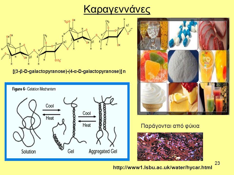 23 Καραγεννάνες [(3-β-D-galactopyranose)-(4-α-D-galactopyranose)] n Παράγονται από φύκια http://www1.lsbu.ac.uk/water/hycar.html