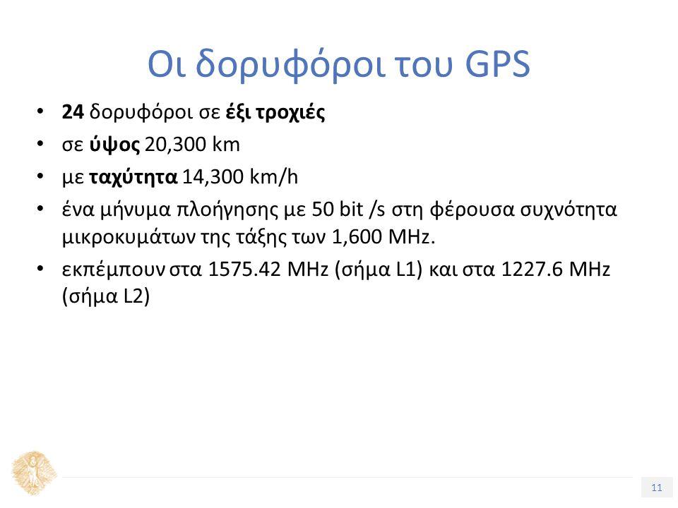 11 Τίτλος Ενότητας Oι δορυφόροι του GPS 24 δορυφόροι σε έξι τροχιές σε ύψος 20,300 km με ταχύτητα 14,300 km/h ένα μήνυμα πλοήγησης με 50 bit /s στη φέρουσα συχνότητα μικροκυμάτων της τάξης των 1,600 MHz.