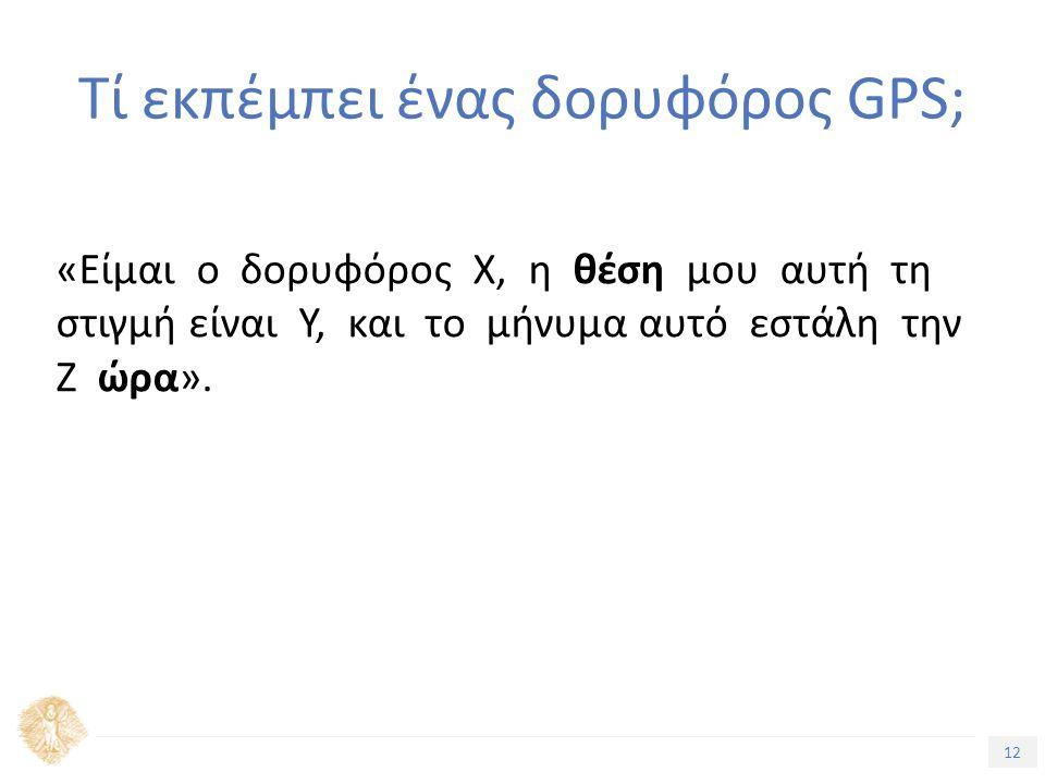 12 Τίτλος Ενότητας «Είµαι ο δορυφόρος Χ, η θέση µου αυτή τη στιγµή είναι Υ, και το μήνυμα αυτό εστάλη την Ζ ώρα». Τί εκπέμπει ένας δορυφόρος GPS;