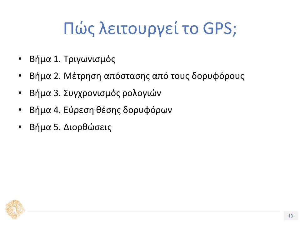 13 Τίτλος Ενότητας Πώς λειτουργεί το GPS; Βήμα 1. Τριγωνισμός Βήμα 2. Μέτρηση απόστασης από τους δορυφόρους Βήμα 3. Συγχρονισμός ρολογιών Βήμα 4. Εύρε