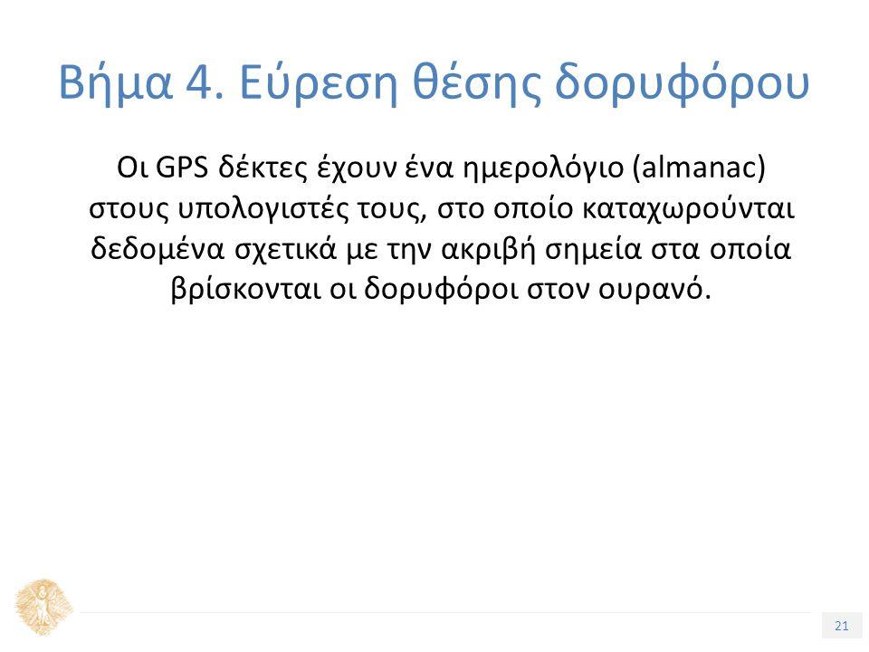 21 Τίτλος Ενότητας Οι GPS δέκτες έχουν ένα ημερολόγιο (almanac) στους υπολογιστές τους, στο οποίο καταχωρούνται δεδομένα σχετικά με την ακριβή σημεία