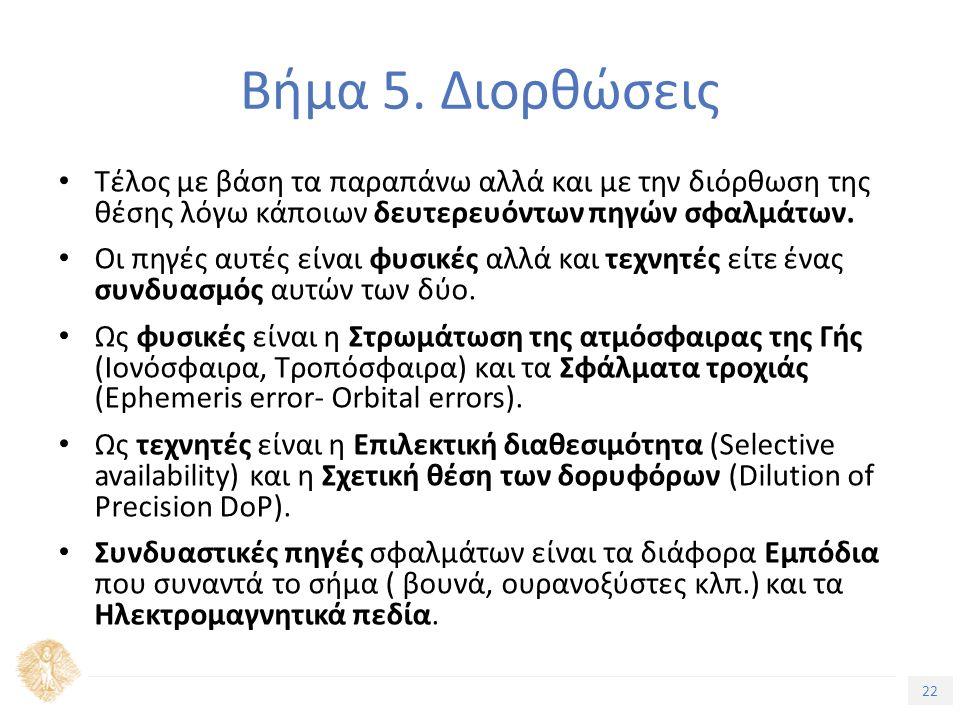 22 Τίτλος Ενότητας Βήμα 5. Διορθώσεις Τέλος με βάση τα παραπάνω αλλά και με την διόρθωση της θέσης λόγω κάποιων δευτερευόντων πηγών σφαλμάτων. Οι πηγέ