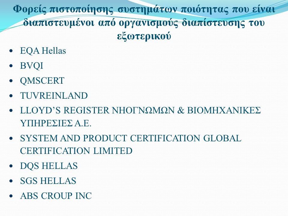 Φορείς πιστοποίησης συστημάτων ποιότητας που είναι διαπιστευμένοι από οργανισμούς διαπίστευσης του εξωτερικού EQA Hellas BVQI QMSCERT TUVREINLAND LLOYD'S REGISTER ΝΗΟΓΝΩΜΩΝ & ΒΙΟΜΗΧΑΝΙΚΕΣ ΥΠΗΡΕΣΙΕΣ Α.Ε.