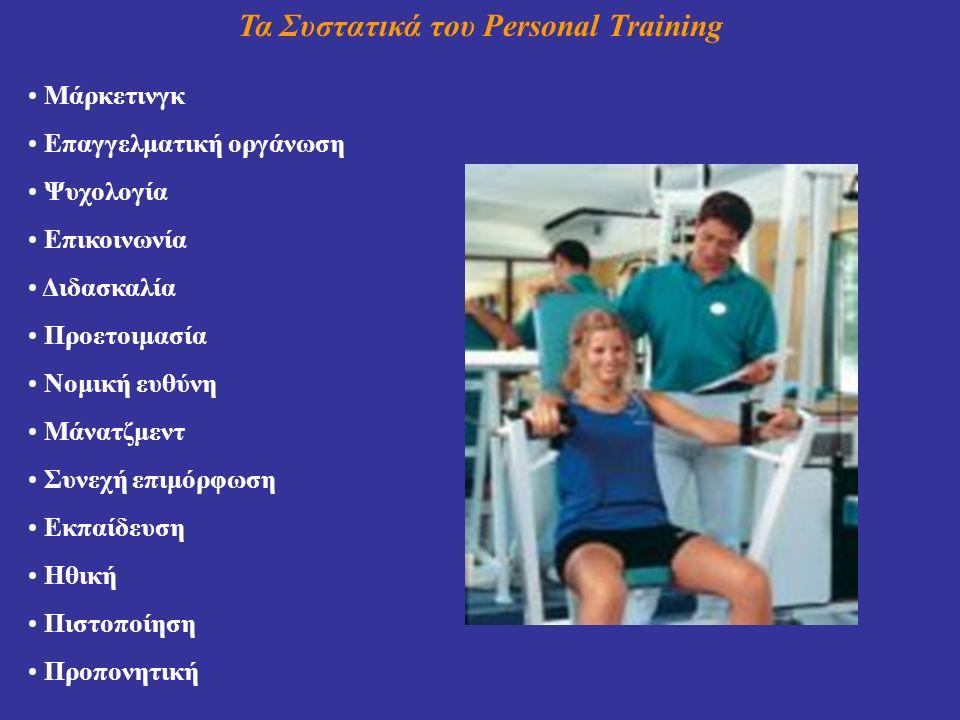 Τα Συστατικά του Personal Training Μάρκετινγκ Επαγγελματική οργάνωση Ψυχολογία Επικοινωνία Διδασκαλία Προετοιμασία Νομική ευθύνη Μάνατζμεντ Συνεχή επιμόρφωση Εκπαίδευση Ηθική Πιστοποίηση Προπονητική