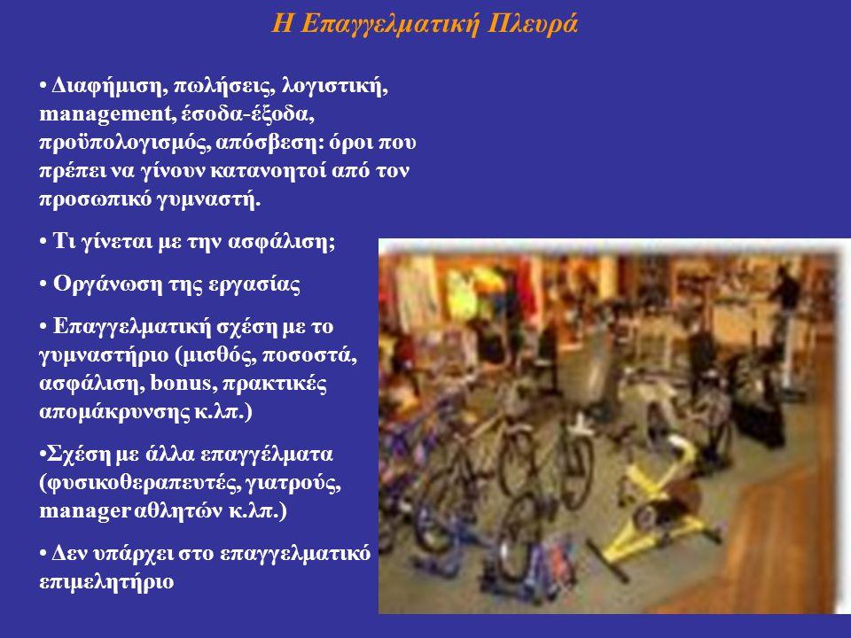 Η Επαγγελματική Πλευρά Διαφήμιση, πωλήσεις, λογιστική, management, έσοδα-έξοδα, προϋπολογισμός, απόσβεση: όροι που πρέπει να γίνουν κατανοητοί από τον προσωπικό γυμναστή.