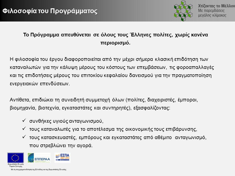 Φιλοσοφία του Προγράμματος Το Πρόγραμμα απευθύνεται σε όλους τους Έλληνες πολίτες, χωρίς κανένα περιορισμό.