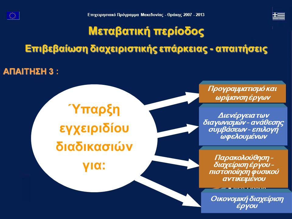 Επιχειρησιακό Πρόγραμμα Μακεδονίας - Θράκης 2007 - 2013 ΑΠΑΙΤΗΣΗ 3 ΑΠΑΙΤΗΣΗ 3 : Ύπαρξη εγχειριδίου διαδικασιών για: Διενέργεια των διαγωνισμών - ανάθεσης συμβάσεων - επιλογή ωφελουμένων Προγραμματισμό και ωρίμανση έργων Παρακολούθηση - διαχείριση έργου - πιστοποίηση φυσικού αντικειμένου Οικονομική διαχείριση έργου Μεταβατική περίοδος Επιβεβαίωση διαχειριστικής επάρκειας - απαιτήσεις