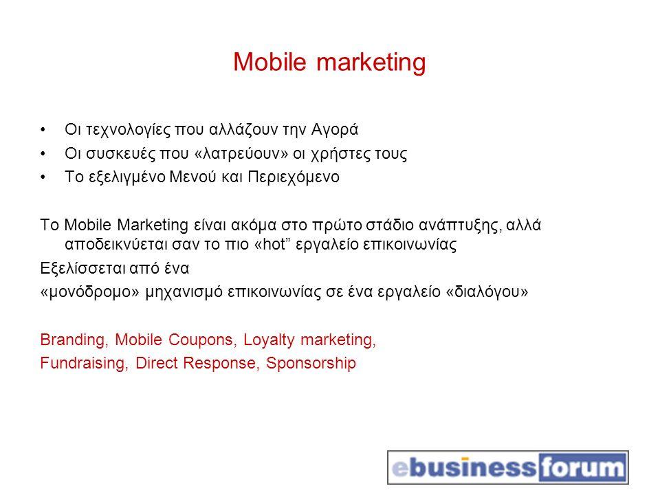Mobile marketing Οι τεχνολογίες που αλλάζουν την Αγορά Οι συσκευές που «λατρεύουν» οι χρήστες τους Το εξελιγμένο Μενού και Περιεχόμενο Το Mobile Marke