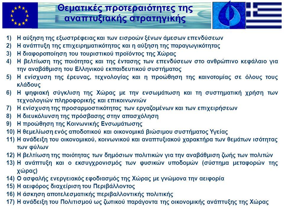 Θεματικές προτεραιότητες της αναπτυξιακής στρατηγικής 1)Η αύξηση της εξωστρέφειας και των εισροών ξένων άμεσων επενδύσεων 2)Η ανάπτυξη της επιχειρηματικότητας και η αύξηση της παραγωγικότητας 3)Η διαφοροποίηση του τουριστικού προϊόντος της Χώρας 4)Η βελτίωση της ποιότητας και της έντασης των επενδύσεων στο ανθρώπινο κεφάλαιο για την αναβάθμιση του Ελληνικού εκπαιδευτικού συστήματος 5)Η ενίσχυση της έρευνας, τεχνολογίας και η προώθηση της καινοτομίας σε όλους τους κλάδους 6)Η ψηφιακή σύγκλιση της Χώρας με την ενσωμάτωση και τη συστηματική χρήση των τεχνολογιών πληροφορικής και επικοινωνιών 7)Η ενίσχυση της προσαρμοστικότητας των εργαζομένων και των επιχειρήσεων 8)Η διευκόλυνση της πρόσβασης στην απασχόληση 9)Η προώθηση της Κοινωνικής Ενσωμάτωσης 10)Η θεμελίωση ενός αποδοτικού και οικονομικά βιώσιμου συστήματος Υγείας 11)Η ανάδειξη του οικονομικού, κοινωνικού και αναπτυξιακού χαρακτήρα των θεμάτων ισότητας των φύλων 12)Η βελτίωση της ποιότητας των δημόσιων πολιτικών για την αναβάθμιση ζωής των πολιτών 13)Η ανάπτυξη και ο εκσυγχρονισμός των φυσικών υποδομών (σύστημα μεταφορών της χώρας) 14)Ο ασφαλής ενεργειακός εφοδιασμός της Χώρας με γνώμονα την αειφορία 15)Η αειφόρος διαχείριση του Περιβάλλοντος 16)Η άσκηση αποτελεσματικής περιβαλλοντικής πολιτικής 17)Η ανάδειξη του Πολιτισμού ως ζωτικού παράγοντα της οικονομικής ανάπτυξης της Χώρας