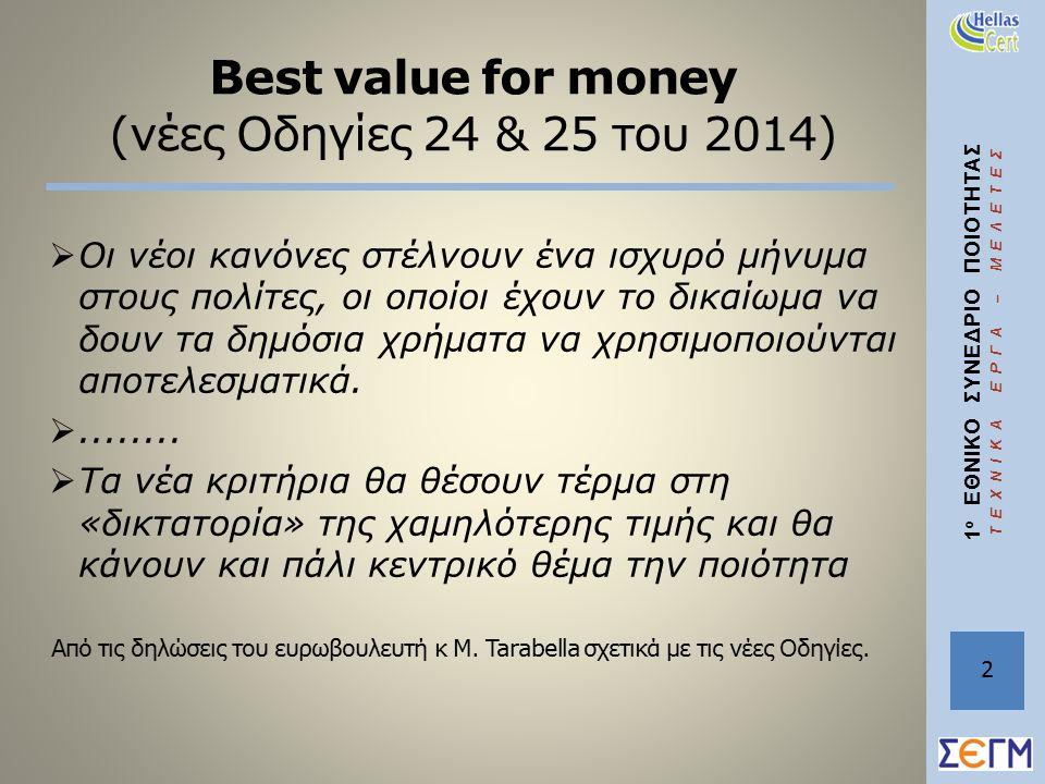 1 ο ΕΘΝΙΚΟ ΣΥΝΕΔΡΙΟ ΠΟΙΟΤΗΤΑΣ ΤΕΧΝΙΚΑ ΕΡΓΑ – ΜΕΛΕΤΕΣ Best value for money (νέες Οδηγίες 24 & 25 του 2014)  Οι νέοι κανόνες στέλνουν ένα ισχυρό μήνυμα στους πολίτες, οι οποίοι έχουν το δικαίωμα να δουν τα δημόσια χρήματα να χρησιμοποιούνται αποτελεσματικά.