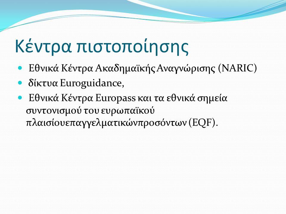 Κέντρα πιστοποίησης Εθνικά Κέντρα Ακαδημαϊκής Αναγνώρισης (NARIC) δίκτυα Euroguidance, Εθνικά Κέντρα Europass και τα εθνικά σημεία συντονισμού του ευρωπαϊκού πλαισίουεπαγγελματικώνπροσόντων (EQF).