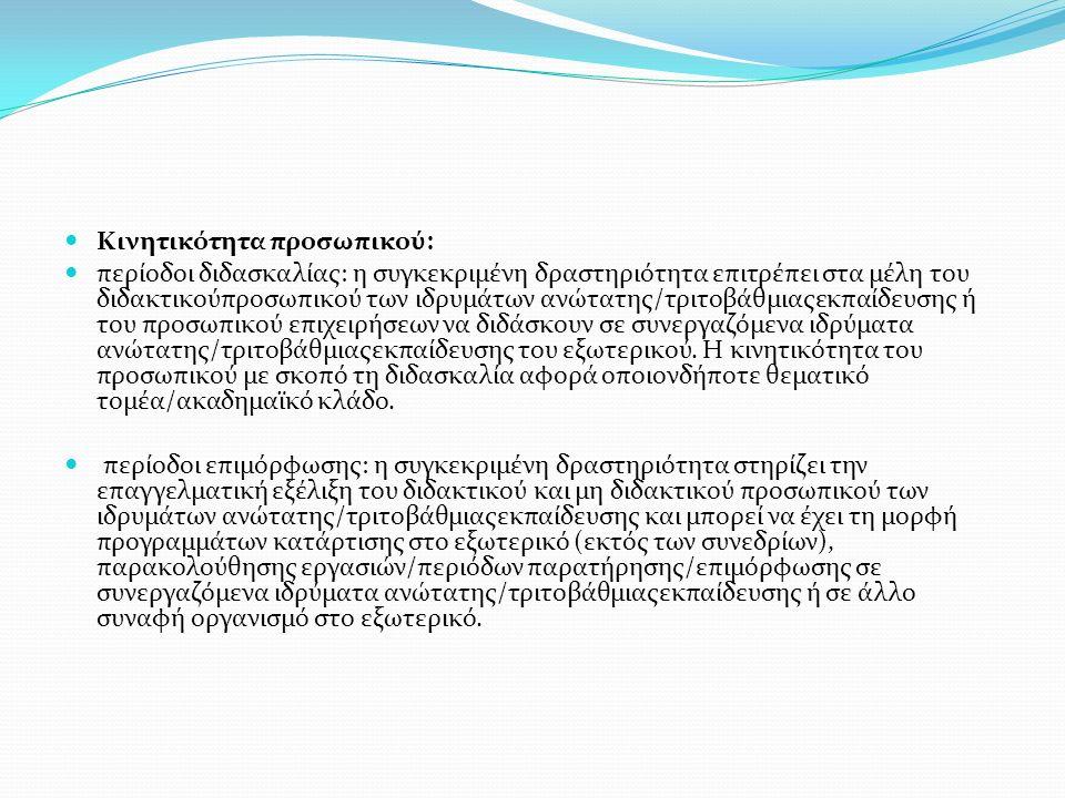 Κινητικότητα προσωπικού: περίοδοι διδασκαλίας: η συγκεκριμένη δραστηριότητα επιτρέπει στα μέλη του διδακτικούπροσωπικού των ιδρυμάτων ανώτατης/τριτοβάθμιαςεκπαίδευσης ή του προσωπικού επιχειρήσεων να διδάσκουν σε συνεργαζόμενα ιδρύματα ανώτατης/τριτοβάθμιαςεκπαίδευσης του εξωτερικού.