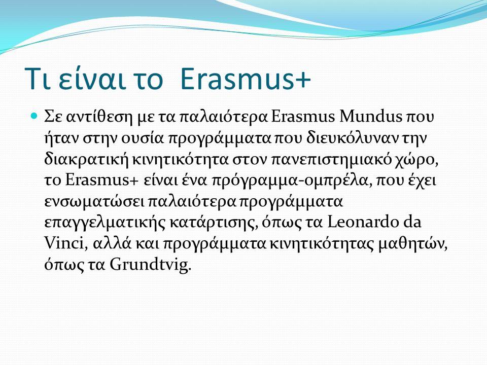 Τι είναι το Erasmus+ Σε αντίθεση με τα παλαιότερα Erasmus Mundus που ήταν στην ουσία προγράμματα που διευκόλυναν την διακρατική κινητικότητα στον πανεπιστημιακό χώρο, το Erasmus+ είναι ένα πρόγραμμα-ομπρέλα, που έχει ενσωματώσει παλαιότερα προγράμματα επαγγελματικής κατάρτισης, όπως τα Leonardo da Vinci, αλλά και προγράμματα κινητικότητας μαθητών, όπως τα Grundtvig.
