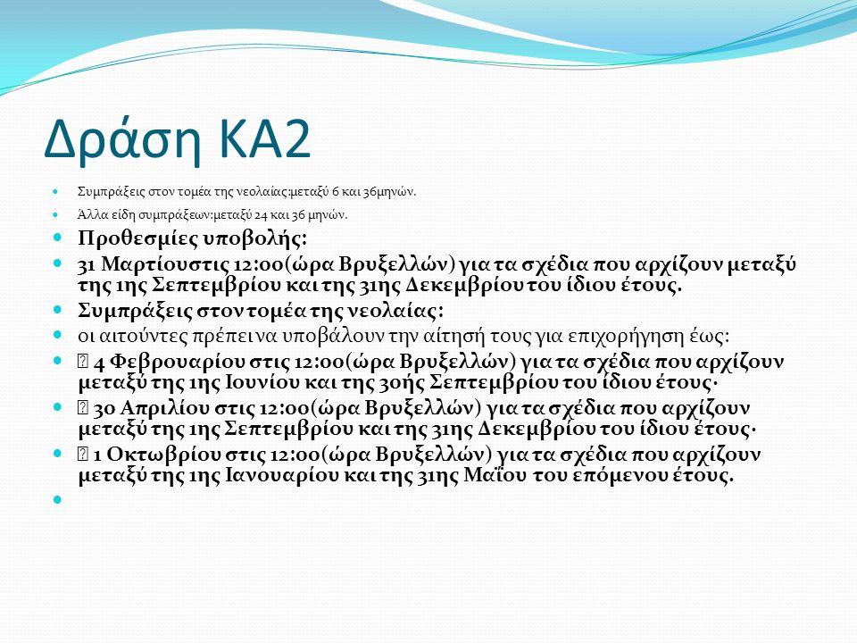 Δράση ΚΑ2 Συμπράξεις στον τομέα της νεολαίας:μεταξύ 6 και 36μηνών.