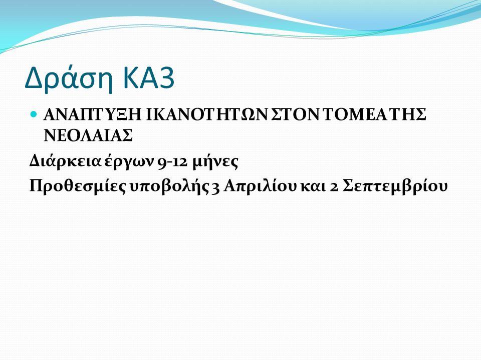 Δράση ΚΑ3 ΑΝΑΠΤΥΞΗ ΙΚΑΝΟΤΗΤΩΝ ΣΤΟΝ ΤΟΜΕΑ ΤΗΣ ΝΕΟΛΑΙΑΣ Διάρκεια έργων 9-12 μήνες Προθεσμίες υποβολής 3 Απριλίου και 2 Σεπτεμβρίου