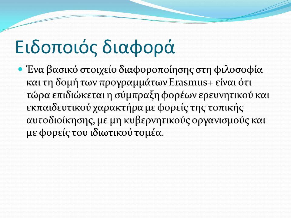 Ειδοποιός διαφορά Ένα βασικό στοιχείο διαφοροποίησης στη φιλοσοφία και τη δομή των προγραμμάτων Erasmus+ είναι ότι τώρα επιδιώκεται η σύμπραξη φορέων ερευνητικού και εκπαιδευτικού χαρακτήρα με φορείς της τοπικής αυτοδιοίκησης, με μη κυβερνητικούς οργανισμούς και με φορείς του ιδιωτικού τομέα.