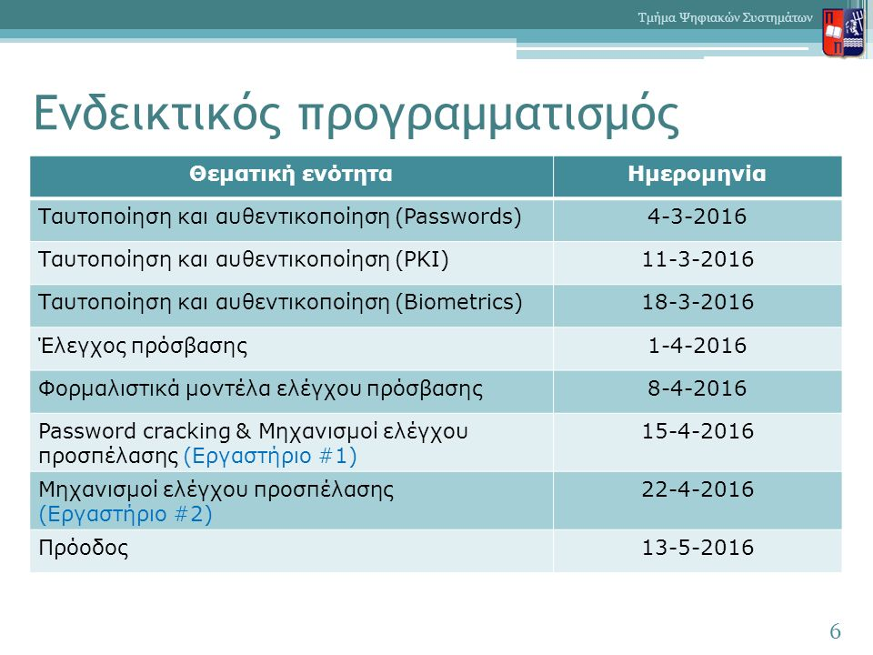 Ενδεικτικός προγραμματισμός 6 Τμήμα Ψηφιακών Συστημάτων Θεματική ενότηταΗμερομηνία Ταυτοποίηση και αυθεντικοποίηση (Passwords)4-3-2016 Ταυτοποίηση και αυθεντικοποίηση (PKI)11-3-2016 Ταυτοποίηση και αυθεντικοποίηση (Biometrics)18-3-2016 Έλεγχος πρόσβασης1-4-2016 Φορμαλιστικά μοντέλα ελέγχου πρόσβασης8-4-2016 Password cracking & Μηχανισμοί ελέγχου προσπέλασης (Εργαστήριο #1) 15-4-2016 Μηχανισμοί ελέγχου προσπέλασης (Εργαστήριο #2) 22-4-2016 Πρόοδος13-5-2016