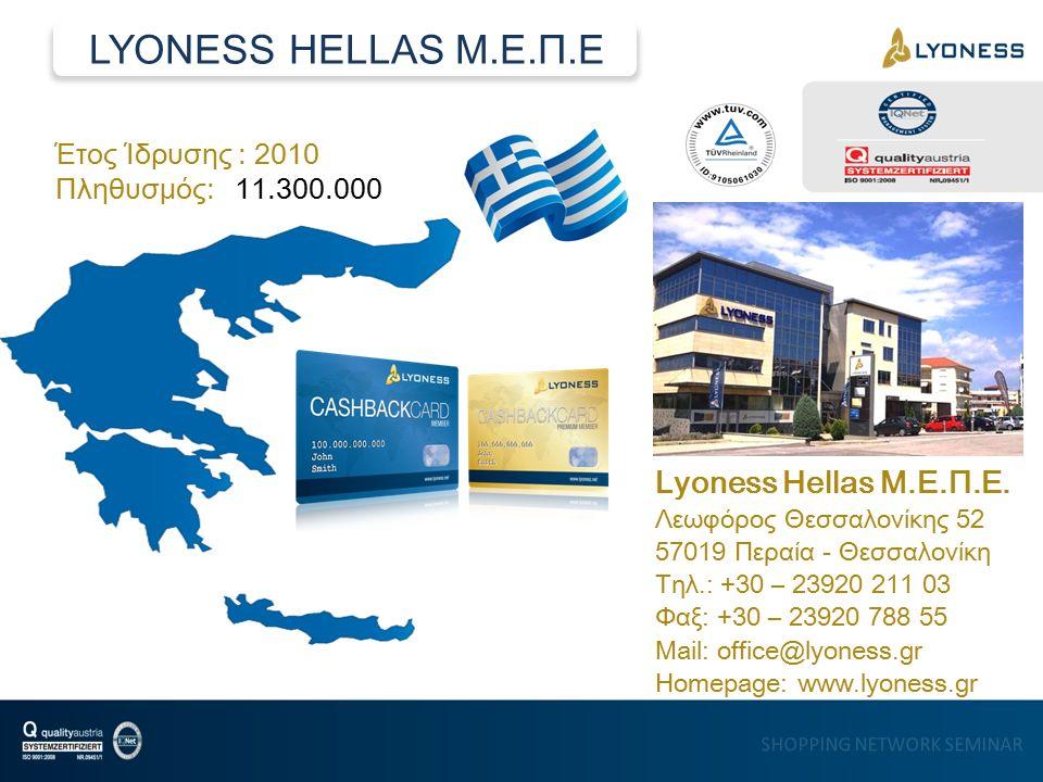 SHOPPING NETWORK SEMINAR Έτος Ίδρυσης : 2010 Πληθυσμός: 11.300.000 Lyoness Hellas Μ.Ε.Π.Ε.