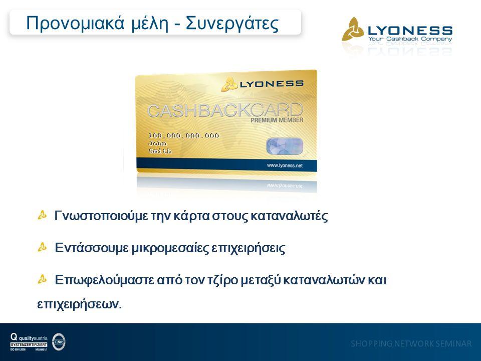 2 % (20 €) στον τραπεζικό λογαριασμό Έκπτωση 8 % 5% (50 €) Στον ηλεκτρονικό κουμπαρά 1% (10 €) στην επιχείρηση που του έδωσε την κάρτα …αξία στο ταμείο 1000 € Παράδειγμα Επιστροφή
