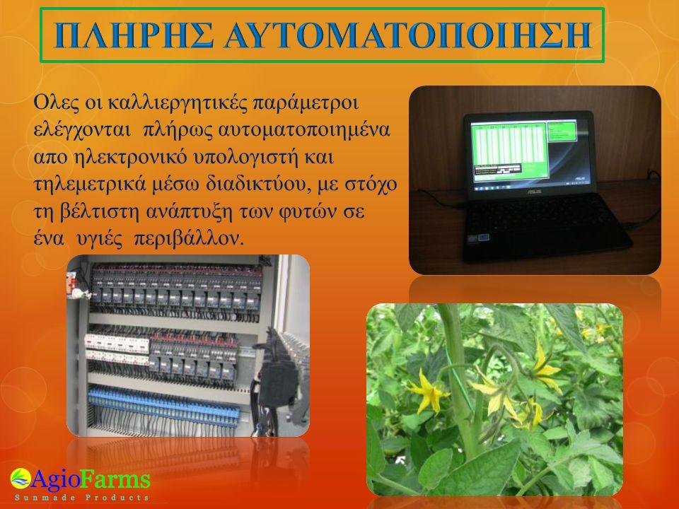 Ολες οι καλλιεργητικές παράμετροι ελέγχονται πλήρως αυτοματοποιημένα απο ηλεκτρονικό υπολογιστή και τηλεμετρικά μέσω διαδικτύου, με στόχο τη βέλτιστη ανάπτυξη των φυτών σε ένα υγιές περιβάλλον.