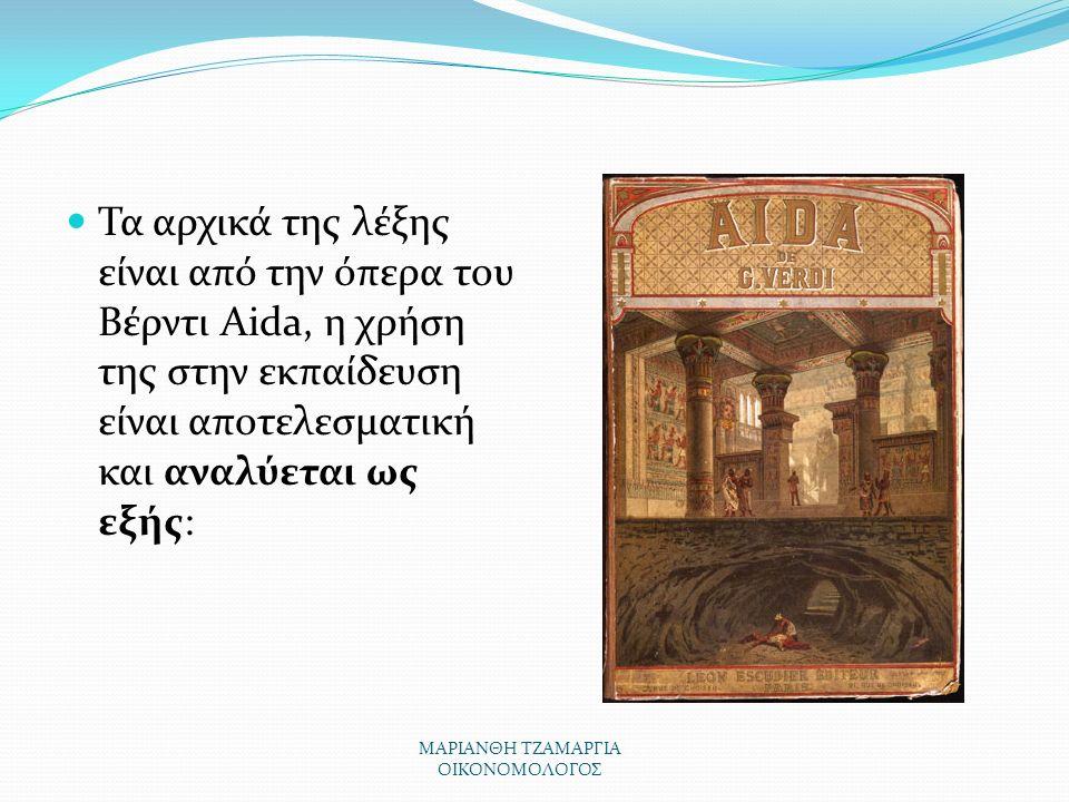 ΜΑΡΙΑΝΘΗ ΤΖΑΜΑΡΓΙΑ ΟΙΚΟΝΟΜΟΛΟΓΟΣ Τα αρχικά της λέξης είναι από την όπερα του Βέρντι Aida, η χρήση της στην εκπαίδευση είναι αποτελεσματική και αναλύεται ως εξής: