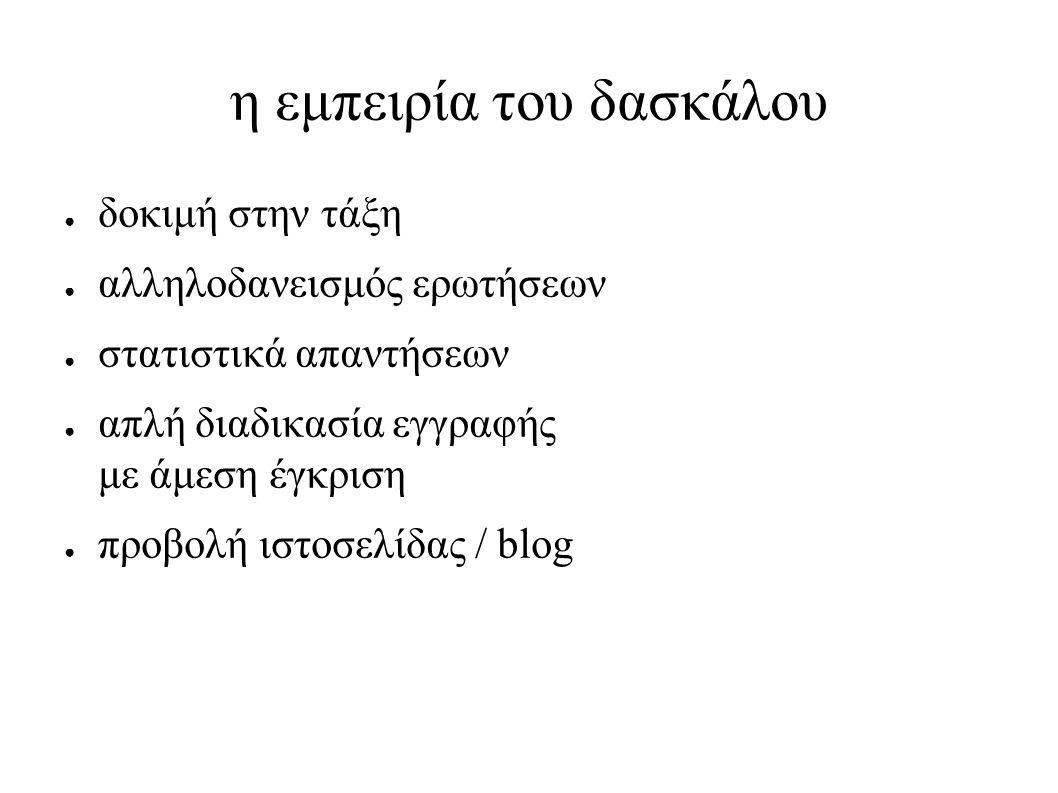 η εμπειρία του δασκάλου ● δοκιμή στην τάξη ● αλληλοδανεισμός ερωτήσεων ● στατιστικά απαντήσεων ● απλή διαδικασία εγγραφής με άμεση έγκριση ● προβολή ιστοσελίδας / blog