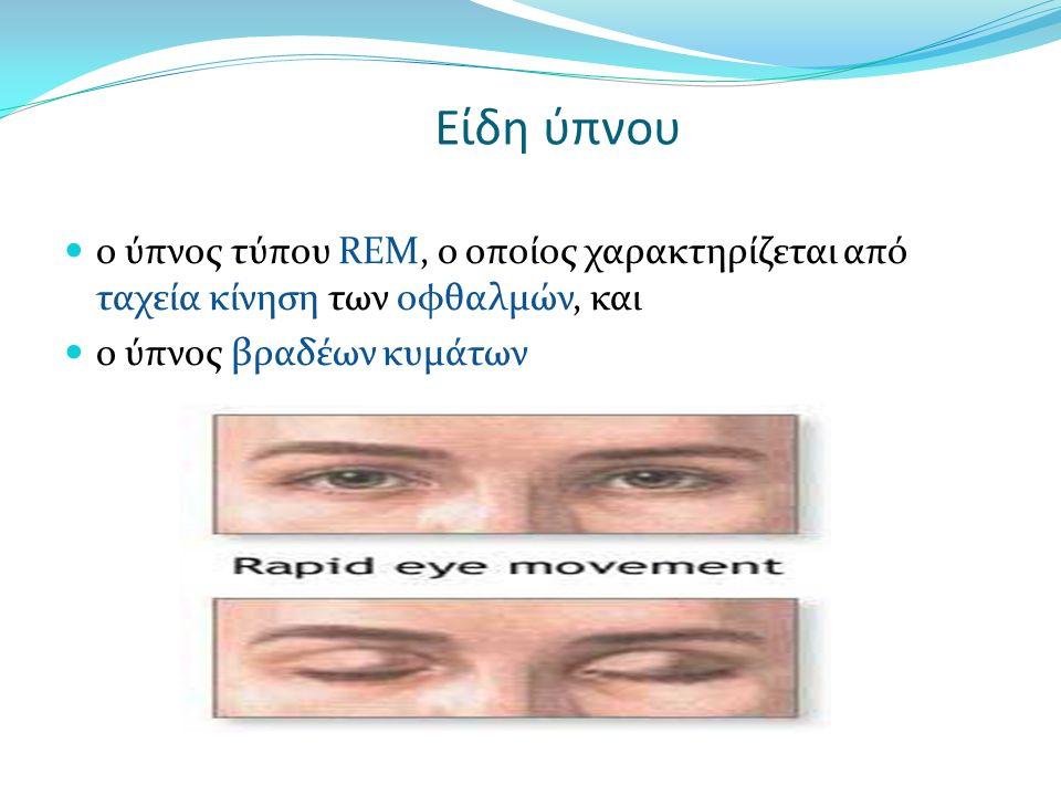 Είδη ύπνου ο ύπνος τύπου REM, ο οποίος χαρακτηρίζεται από ταχεία κίνηση των οφθαλμών, και ο ύπνος βραδέων κυμάτων