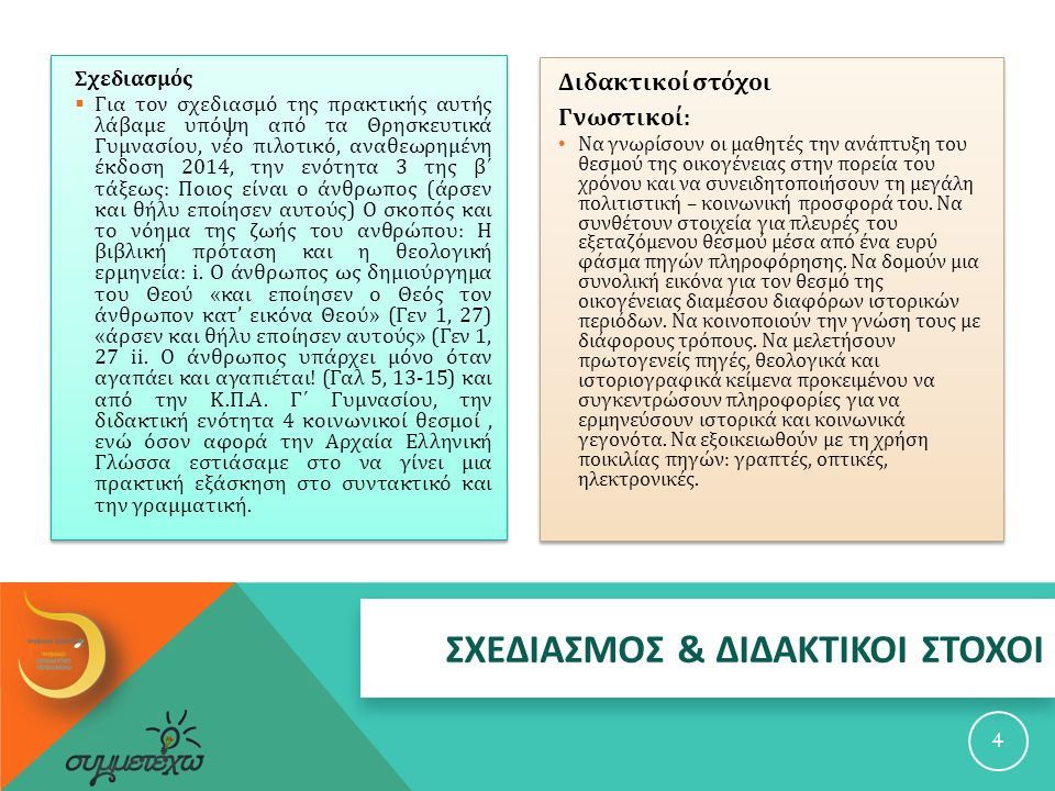 ΣΧΕΔΙΑΣΜΟΣ & ΔΙΔΑΚΤΙΚΟΙ ΣΤΟΧΟΙ Σχεδιασμός  Για τον σχεδιασμό της πρακτικής αυτής λάβαμε υπόψη από τα Θρησκευτικά Γυμνασίου, νέο πιλοτικό, αναθεωρημένη έκδοση 2014, την ενότητα 3 της β΄ τάξεως : Ποιος είναι ο άνθρωπος ( άρσεν και θήλυ εποίησεν αυτούς ) Ο σκοπός και το νόημα της ζωής του ανθρώπου : Η βιβλική πρόταση και η θεολογική ερμηνεία : i.