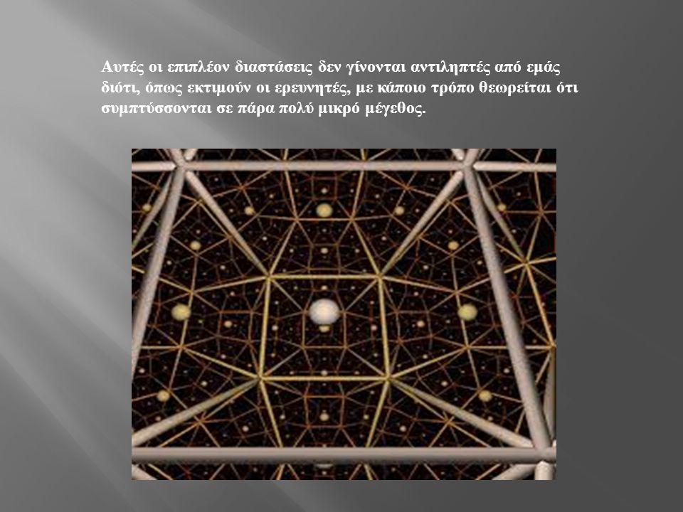 Αυτές οι επιπλέον διαστάσεις δεν γίνονται αντιληπτές από εμάς διότι, όπως εκτιμούν οι ερευνητές, με κάποιο τρόπο θεωρείται ότι συμπτύσσονται σε πάρα πολύ μικρό μέγεθος.