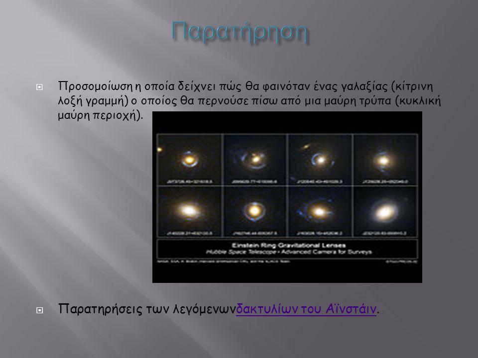  Προσομοίωση η οποία δείχνει πώς θα φαινόταν ένας γαλαξίας (κίτρινη λοξή γραμμή) ο οποίος θα περνούσε πίσω από μια μαύρη τρύπα (κυκλική μαύρη περιοχή).