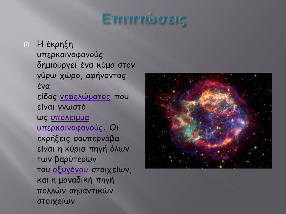 Η έκρηξη υπερκαινοφανούς δημιουργεί ένα κύμα στον γύρω χώρο, αφήνοντας ένα είδος νεφελώματος που είναι γνωστό ως υπόλειμμα υπερκαινοφανούς.