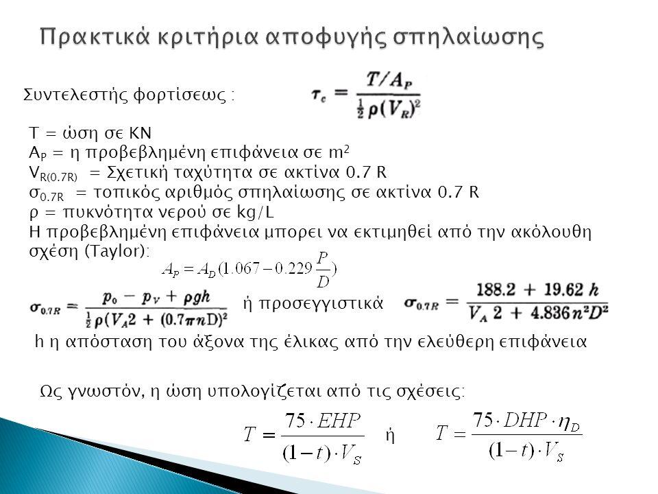 T = ώση σε ΚΝ Α Ρ = η προβεβλημένη επιφάνεια σε m 2 V R(0.7R) = Σχετική ταχύτητα σε ακτίνα 0.7 R σ 0.7R = τοπικός αριθμός σπηλαίωσης σε ακτίνα 0.7 R ρ = πυκνότητα νερού σε kg/L Η προβεβλημένη επιφάνεια μπορει να εκτιμηθεί από την ακόλουθη σχέση (Taylor): ή προσεγγιστικά h η απόσταση του άξονα της έλικας από την ελεύθερη επιφάνεια Συντελεστής φορτίσεως : Ως γνωστόν, η ώση υπολογίζεται από τις σχέσεις: ή