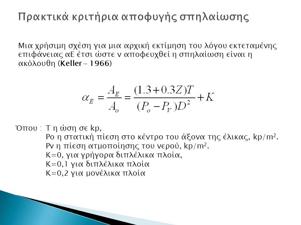 Μια χρήσιμη σχέση για μια αρχική εκτίμηση του λόγου εκτεταμένης επιφάνειας αΕ έτσι ώστε ν αποφευχθεί η σπηλαίωση είναι η ακόλουθη (Keller – 1966) Όπου :Τ η ώση σε kp, Ρο η στατική πίεση στο κέντρο του άξονα της έλικας, kp/m 2.