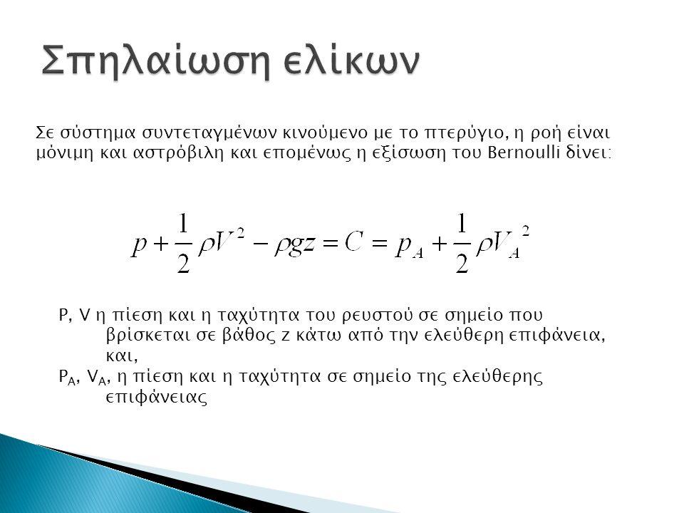Σε σύστημα συντεταγμένων κινούμενο με το πτερύγιο, η ροή είναι μόνιμη και αστρόβιλη και επομένως η εξίσωση του Bernoulli δίνει: P, V η πίεση και η ταχύτητα του ρευστού σε σημείο που βρίσκεται σε βάθος z κάτω από την ελεύθερη επιφάνεια, και, P A, V A, η πίεση και η ταχύτητα σε σημείο της ελεύθερης επιφάνειας